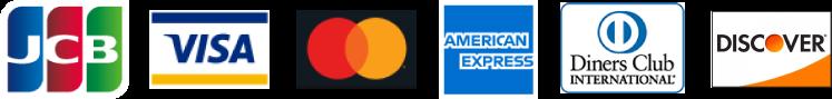 JCB VISA MasterCard AmericanExpress DinersClub DISCOVER